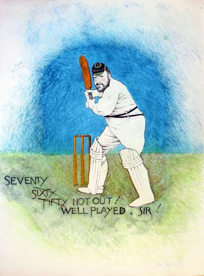 Seventy Not Out - Portrait of Jonathan Williams (print with crayon editions)