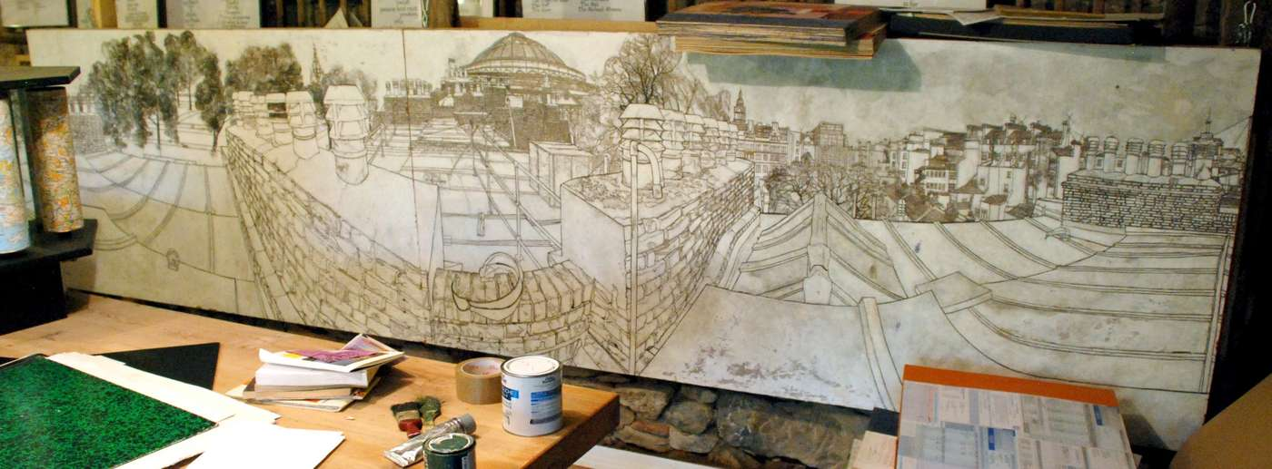 Drawing of Kensington Rooftops in John Furnival's studio